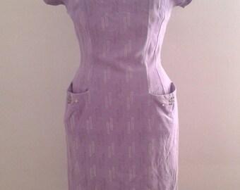 Vintage 1950's Lilac Purple Geometric Print Cotton Wiggle Dress Silver Embellishment Sz Small Atomic Mid Century