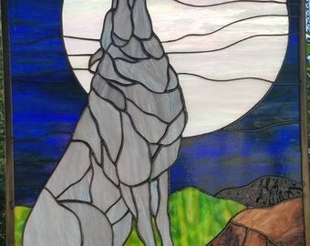 Hand Created Large Stained Glass Wolf & Moon Panel 16 1/4 By 20 1/8 Inches