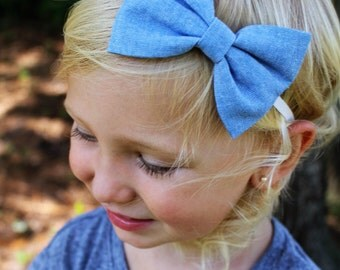 light denim bow headband