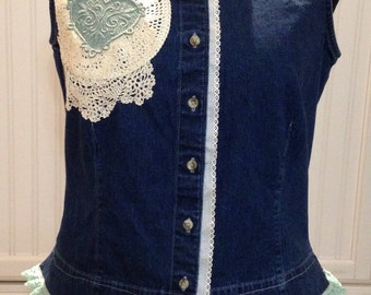 vintage upcycled denim vest, vintage crochet linens, aqua green ruffled lace trim, ecru eyelet lace ruffle, vintage cream cotton lace trim