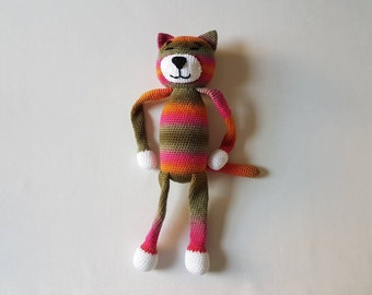Large Rainbow Cat Toy, Crochet Cat, Soft Cat Toy, Crochet Rainbow Cat, Handmade Crochet Cat, Large Amigurumi Cat - MADE TO ORDER