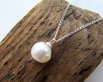 Genuine Pearl Sterling Silver Necklace, Pearl Pendant, Made of a Natural Freshwater Pearl and 925 Sterling Silver Chain