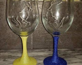 Beauty and Beast Wine glasses