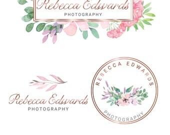 Photography Logo, Floral Logo, Watercolour Logo, logo, logo design, Watermark Logo, Branding Kit, Branding package, Rose Gold Logo
