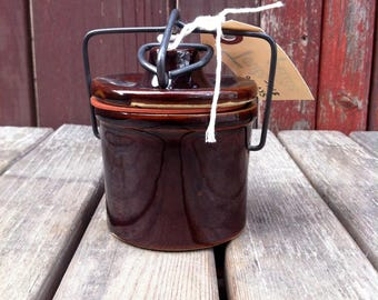 Dark Brown Bailed Wire Closure Butter Crock, Cheese Crock, Stoneware Jar, Vintage Crock, Pottery Crock, Small Stoneware Pot, Ceramic Pot