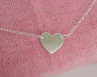 Heart necklace // Fine silver heart necklace // Sterling silver necklace // Heart pendant necklace // Heart charm // Handcrafted // Everyday