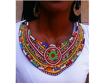 chunky necklace, big bold necklace, bib necklace, tribal necklace, unique necklace for women