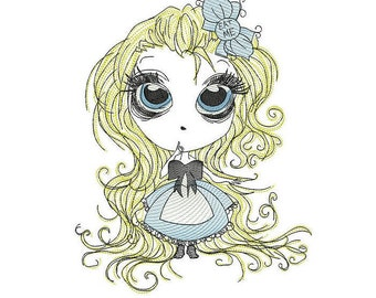 Alice in wonderland sketch embroidery machine design file digital download three sizes included in all formats