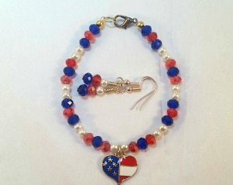 Fourth of July Bracelet and Earrings Set, Red White and Blue Jewelry, Independence Day, USA, America