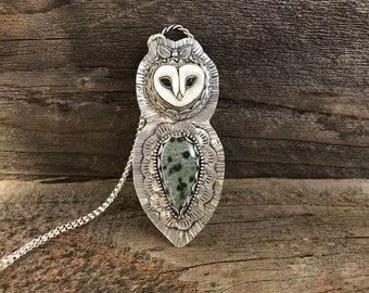 Owl Necklace, Ocean Jasper Necklace, Animal Necklace, Bird Necklace, Owl Pendant, Owl Jewelry, Tribal Necklace, Fantasy Necklace, Green