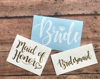 Bridal Party Decals | Bride Decal | Bridesmaid Decal | Maid of Honor Decal | Bride Yeti Decal | Bridal Party Gift | Bridesmaids Gift