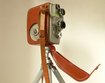 Vintage Zimmerman  Cima Cimatic 8mm Cine Camera - Mechanical - With Leather Wraparound Case - 1950s