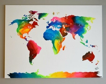Abstract World Map painting// Paint By Number World Map //Colorful World Map Oil painting on Canvas// World Map painting// World Map decor