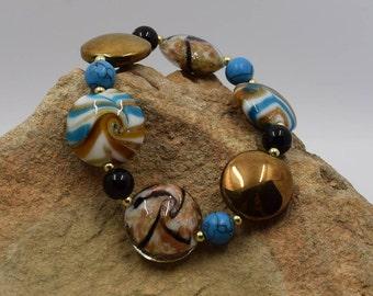 Blue Gold & Black Glass Swirl