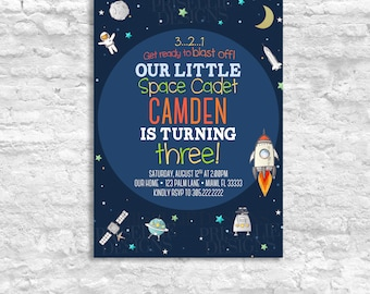 Outer Space Birthday Invitation, Solar System Birthday Invitation, Mission Space Rocket Birthday Invitation, Space Baby Shower Invitation,