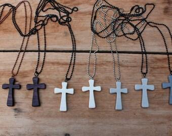 Wood Cross Necklace, Small Cross, Wooden Cross, Men's Cross Necklace, Women's Cross Chain, White Cross, Gray Cross, Rustic Cross, Christian