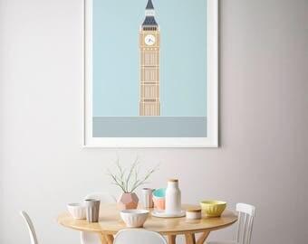 Big Ben / Elizabeth Tower, Colour, London Print | London Artwork | London Illustration | Architecture Print | City Print