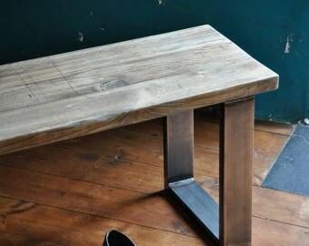 Reclaimed Wood Bench Industrial Rustic Steel legs Vintage Scaffold Wood Bench Rustic Scaffold Board Furniture Bespoke Bench