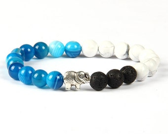 Elephant Bracelet - Good Luck Elephant Charm - Sea Blue, Marble White and Lava Stone - Animal Bracelet - Great Gift for everyone!