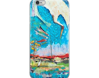 Original art collage iPhone case, inspired by artist Hiroshige woodblock print art painting