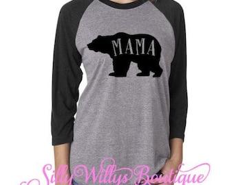 Mama bear shirt, Mama bear raglan, Mama bear long sleeve shirt, Mother's Day gift, Matching family shirts, New mom shirt, Baby shower gift