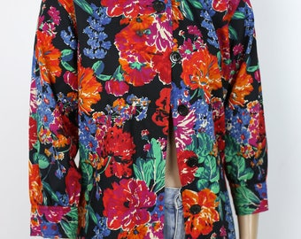 80s Yves Saint Laurent floral blouse