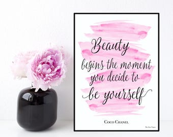 Coco Chanel quote, Celebrity quote, Inspirational wall art, Poster quote Coco Chanel, Inspirational quote, Typography printable