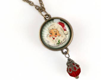 Santa Claus Pendant with Red Accent Bead