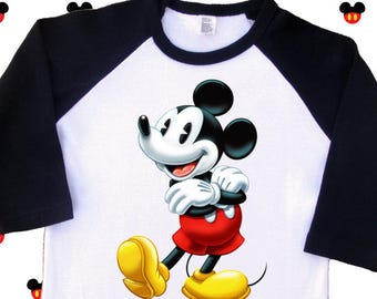 Vintage Mickey Mouse Shirt. Vintage Mickey Mouse Raglan,  Vintage Mickey Mouse T Shirt. Vintage Mickey Mouse Tee. [Minnie Mouse] (35235)