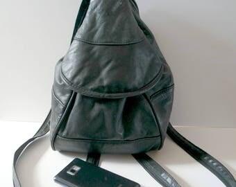 Vintage Small Black Leather Backpack, Mini Leather Rucksack