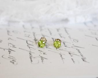 Sterling Silver Peridot Stud Earrings, Friction Backs, August/Leo Birthstone