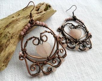 Copper wire wrapped earrings with Rose quartz, Copper jewelry, Wire wrap earrings, Boho earrings, Healing earrings, Pink dangle earrings