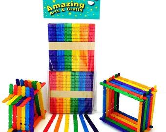 Building Lollipop Sticks, Assorted Colours 100 Pieces