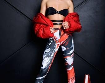 Anime Leggings, comic leggings, black leggings, printed leggings, art leggings, workout leggings, pop art clothing, Japanese leggings