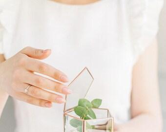 Glass ring box,  Geometric jewelry box, Wedding ring box, Glass jewelry box, Geometric glass box, Ring pillow  (JB16)