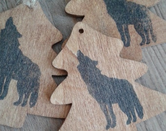 Wolf on pine wood