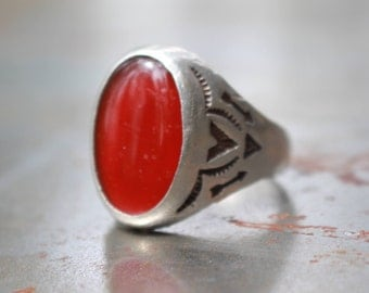 Red Carnelian Bell Trading Post Ring Old Pawn Fred Harvey