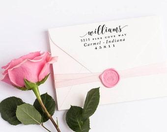 Custom Return Address Stamp, Self Ink Return Address Stamp, Wedding Return Address, Calligraphy Address Stamp Return Address Stamp No 113
