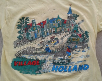 Vintage 80's Village in Holland yellow butter thin t-shirt Made in Holland large