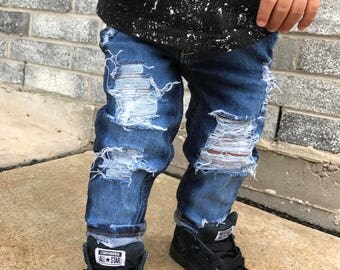Extra distressed all torn up jeans for boys and girls