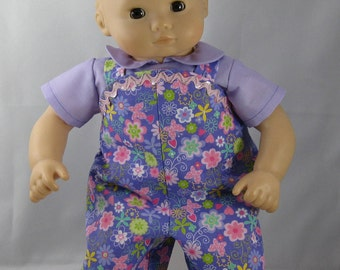 Bitty Baby / Bitty Twin Purple shirt and Overalls