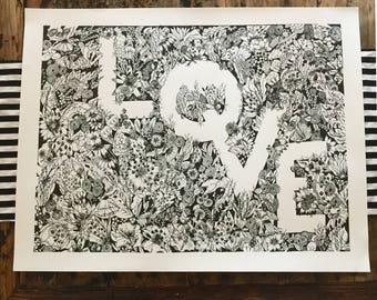 Superbloom - Special offering - original pen+ ink intricate art - Krista Sutton Studios - LOVE and floral,  by hand, original,  illustration