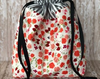 Sock Project Bag, Drawstring Bag, Knitting Project Bag, Crochet Project Bag, Makeup Bag, Toiletries Bag
