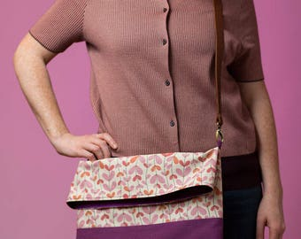 Messenger bag with adjustable leather strap - Japanese fabric