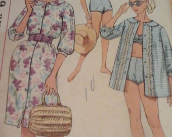 1950s Simplicity 3960 Bathing Suit, Beach Shirt, and Dress Pattern, Size 12
