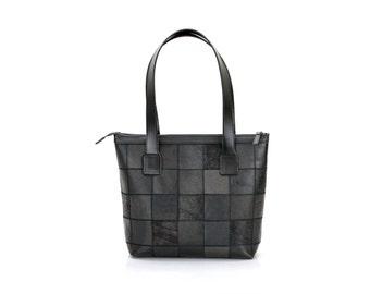 Black leather bag / Leather Bag / Handbag leather / Womens Bag / Patchwork Leather Bag / Handmade Leather Bag