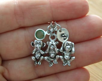 Monkey Speak No Evil, See No Evil, Hear No Evil, Sterling Silver Necklace, Personalized, Animal Necklace, Birthstone Necklace, Gift under 20