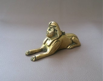 Sphinx Inkwell, Pure Brass, replica Sphinx, could also  be an unusal, interesting, and functional paperweight on your desk