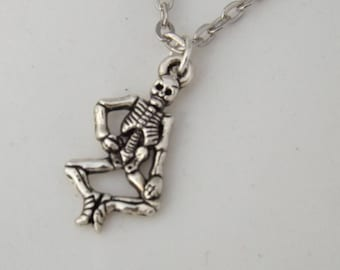 Spooky skeleton Halloween necklace, silver skeleton charm necklace, Halloween skeleton pendant accessory gifting, skeleton gift