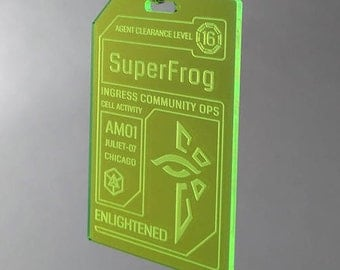 Personalized Enlightened Agent Badge - Neon Green Acrylic Badge with Green Lanyard